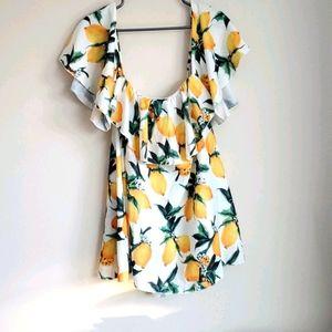 Zaful Lemon Print Top dropped shoulders mini dress
